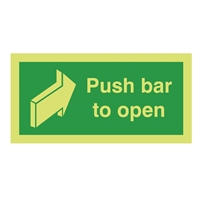 Picture of Photoluminescent Push Bar To Open Sign