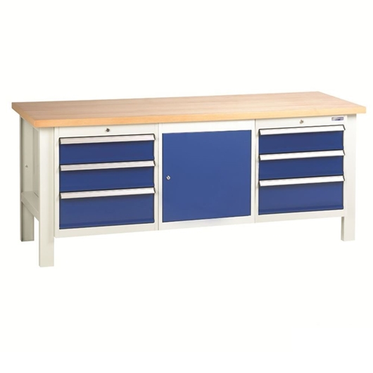 Picture of Heavy Duty Workbenches with 2 x 3 Drawer Sets & Cupboard Unit